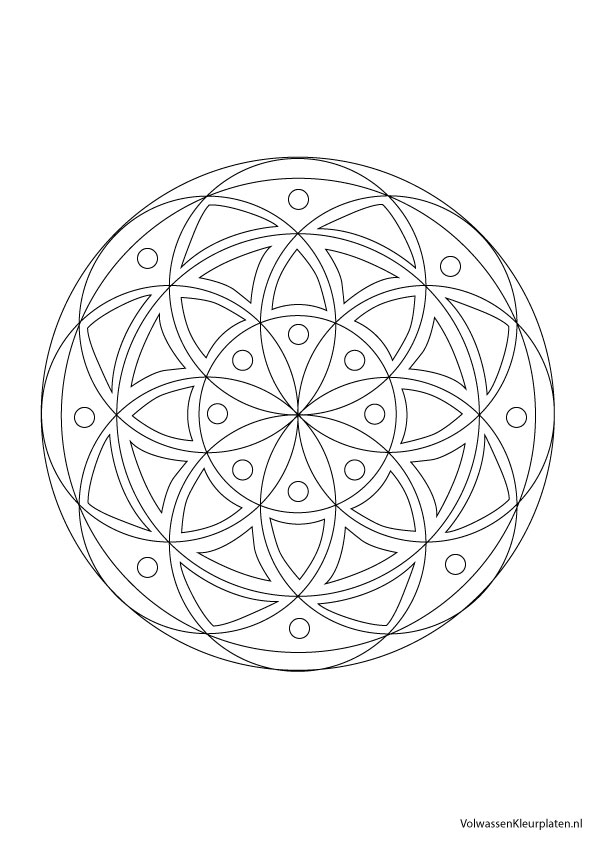 Volwassen Kleurplaten Mandala.Volwassen Kleurplaat Mandala 1 Volwassen Kleurplaten
