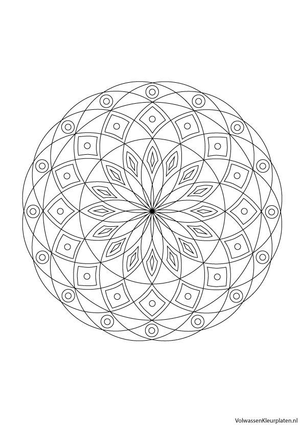 Volwassen Kleurplaten Mandala.Volwassen Kleurplaat Mandala 4 Volwassen Kleurplaten